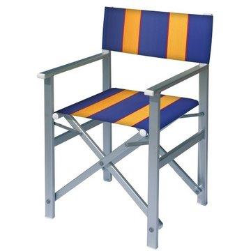 Aluminium regisseursstoel met blauwe bekleding met amber banen (Regista Golden Blue)