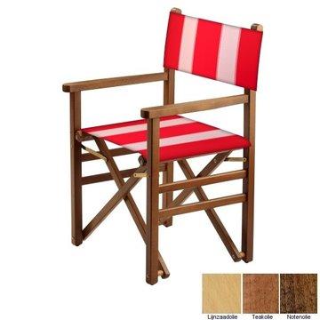 Beukenhouten regisseursstoel - rood met witte banen (Regista Red Lion Classico)
