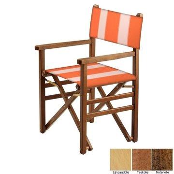 Beukenhouten regisseursstoel - oranje met witte banen (Regista Nemo Classico)