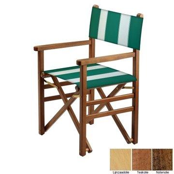Beukenhouten regisseursstoel - groen met witte banen (Regista Pool Green Classico)