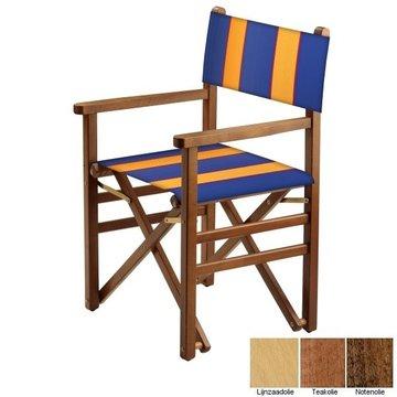 Beukenhouten regisseursstoel - blauw met amber banen (Regista Golden Blue Classico)