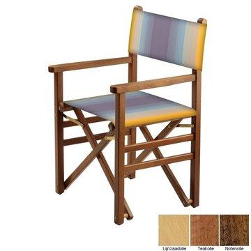 Beukenhouten regisseursstoel - blauw naar amber overlopend (Regista Blue Flex Classico)