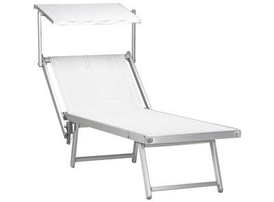 """Aluminium ligbed """"Maxi"""" met zonneklep en witte bekleding (Bianco)"""