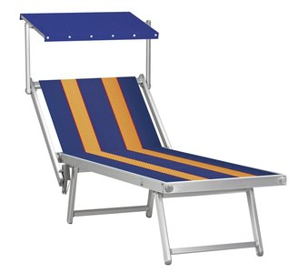 Aluminium ligbed met zonneklep en blauwe bekleding met amber banen (Golden Blue)