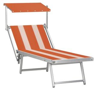 Aluminium ligbed met zonneklep en oranje bekleding met witte banen (Nemo)