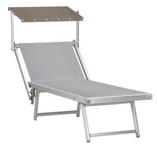 Aluminium ligbed met zonneklep en grijze structuur bekleding (Jersey)