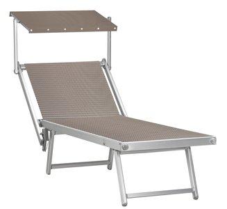 Aluminium ligbed met zonneklep en taupe structuur bekleding (Fandango)