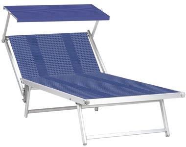 Aluminium ligbed VIP met blauw gestreepte bekleding (Slight Sea)