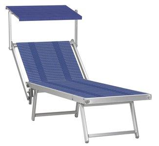 Aluminium ligbed met zonneklep en blauwe bekleding met strepen (Slight Sea)