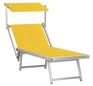 Aluminium ligbed met zonneklep en gele bekleding (Giallo)