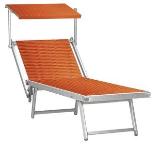 Aluminium ligbed met zonneklep en oranje/rode bekleding (Gitano)
