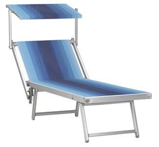 Aluminium ligbed met zonneklep en blauw/witte bekleding (Lithodora)