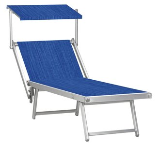 Aluminium ligbed met zonneklep en blauwe structuur bekleding (Electric Blue)