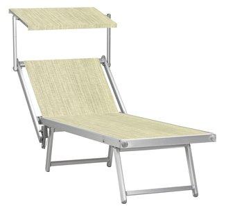 SALE: Aluminium 'standaard' ligbed met zonneklep en grof geweven ecru bekleding (Twistsand)