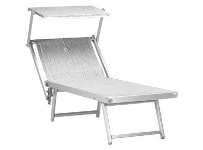 "Aluminium ligbed ""Standaard"" met zonneklep en grijze bekleding (Mercury)"