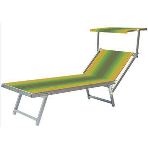 Aluminium ligbed met zonneklep en groen/gele bekleding (Golden Green)