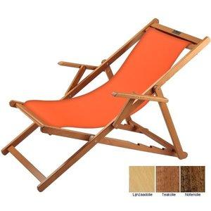 houten ligstoel oranje