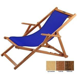 houten ligstoel blauw