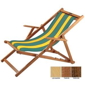 houten ligstoel groen geel