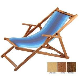 houten ligstoel blauw wit overlopend