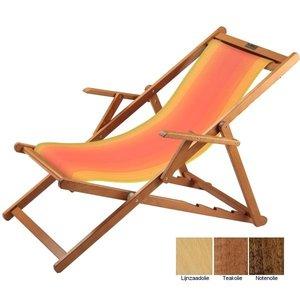 houten ligstoel rood geel overlopend
